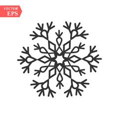 Snowflake icon. Flat vector illustration in black on white background. EPS 10