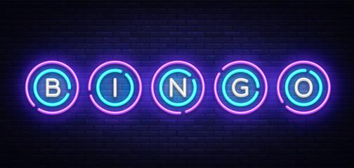 Bingo neon sign vector design template. Lotto symbols neon logo, light banner design element colorful modern design trend, night bright advertising, bright sign. Vector illustration