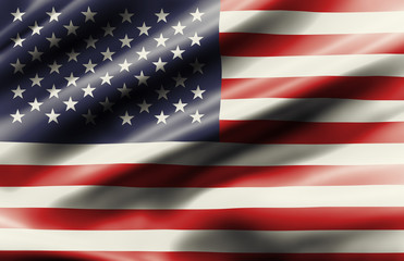 Waving flag of United State of America is made of silk shiny material in vintage filters.