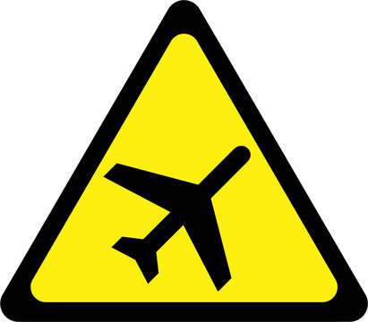 Yellow warning sign with airplane