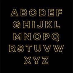 Golden glitter alphabet font set. Vector illustration