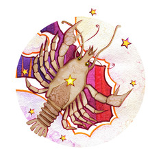 Astrological sign of the zodiac Cancer watercolor in retro style, on a round  pattern background