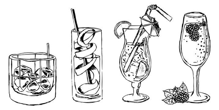 Ice Coctails Drinks Lemon Illustration Vector Set