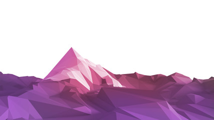 Wall Murals Light pink Low-poly image of a mountain with a white glacier at the top. 3d illustration