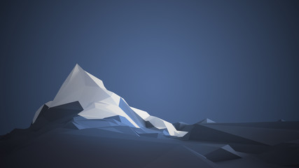 Low-poly image of a mountain with a white glacier at the top. 3d illustration