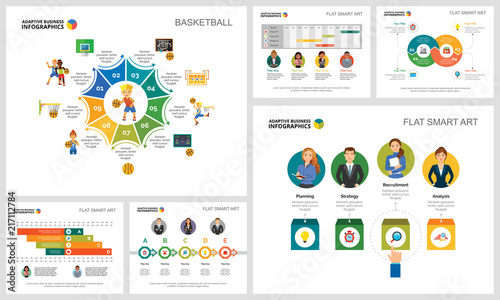Colorful consulting or workflow concept infographic charts