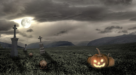 Spooky Halloween graveyard with pumpkin and moon