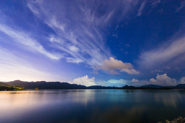 lake with starry sky and cloud