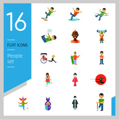 People icon set. Falling down the stairs, slipping, snowboarder, ninja. Extreme activity concept. Can be used for topics like caution, comics, freaks