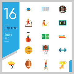 Sport icons set with bicycle, scoreboard and barbell. Thirteen vector icons