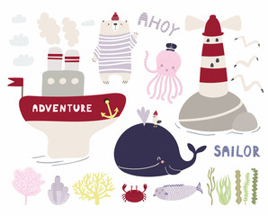 Sea set with cute funny bear sailor, octopus, whale, ship, lighthouse, seagulls, corals, seaweed. Isolated objects on white. Hand drawn vector illustration. Scandinavian style design. Concept kids