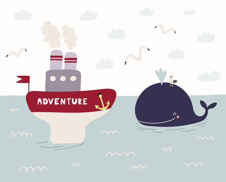 Hand drawn vector illustration of a cute funny whale swimming in the sea, ship named Adventure sailing, seagulls, clouds. Scandinavian style flat design. Concept for kids, nursery print.