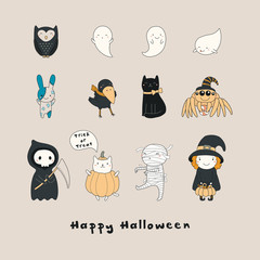 Set of kawaii funny Halloween characters, with ghosts, cats, zombie bunny, witch, death, mummy, spider, owl, crow. Isolated objects. Hand drawn vector illustration Line drawing Design concept print