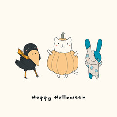 Hand drawn vector illustration of a kawaii funny crow, cat in a pumpkin, zombie bunny, with text Happy Halloween. Isolated objects. Line drawing. Design concept for print, card, party invitation.