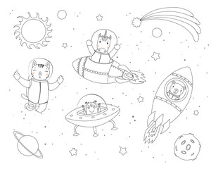 Poster de jardin Des Illustrations Hand drawn black and white vector illustration of cute funny cat, bear, unicorn astronauts, alien in space, with planets, stars. Isolated objects. Line drawing. Design concept children coloring pages.