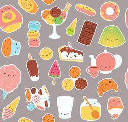 Hand drawn seamless vector pattern with kawaii funny sweet food stickers of cake, cookies, ice cream, candy, jam, macarons. Line drawing. Design concept kids textile print, wallpaper, wrapping paper.