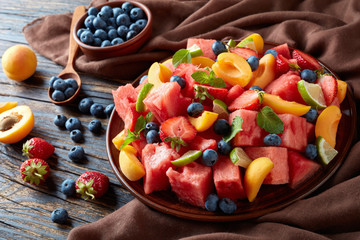 delicious summer fruit and berry salad