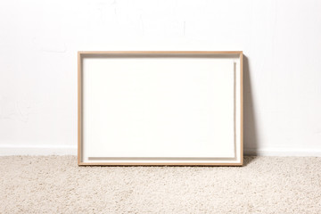 empty white wood photo(picture) frames