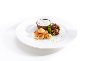 Fried Sea Scallop with White Sauce Isolated