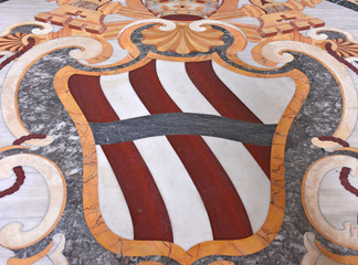 Italy, Rome, basilica of San Giovanni in Laterano, inlaid floor in the entrance hall, view and details.