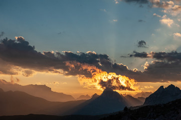 Sunset at the Passo di Giau, in the Italian Dolomites, on a late July evening.