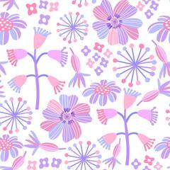 Pink floral pastel seamless pattern. Vector flower background