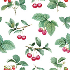 Watercolor illustration of berries. Seamless pattern