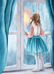 Watercolor girl near window. Hand drawn illustration.