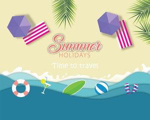 Top view beach background with umbrellas, balls, juice vector
