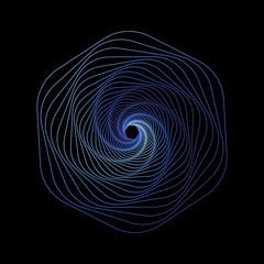Esagono colorato su fondo nero, concetto di movimento