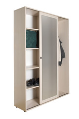 Closet interior showing the organizer shelving and rods with clipping path