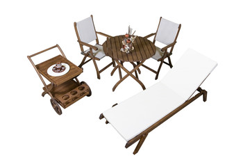 Complete set of wooden garden furniture isolated on white