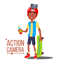 Child Boy With Action Camera Vector. Afro American Teenager. Red Helmet. Shooting Process. Active Type Of Rest. Isolated Cartoon Illustration