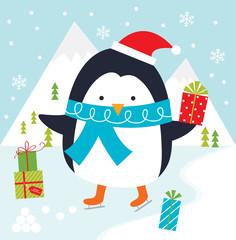 penguin playing ice skating christmas greeting card