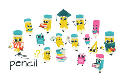 Humanized school supply set. Pencils with eraser at head, arms and face emotions, books and ruler. Flat vector illustration. Happy, smiling characters, Back to school concept, kids education