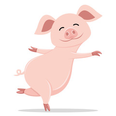 Cute pig smiling standing on a white background.