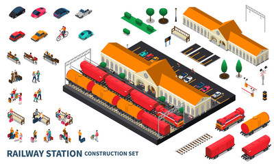 Railway Station Construction Set Fotomurales