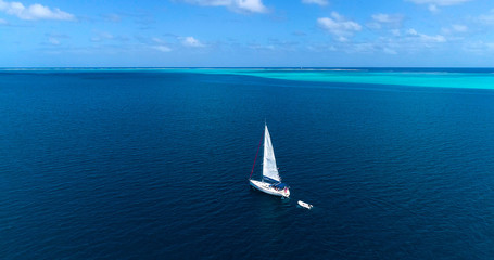 sailboat in aerial view, French Polynesia