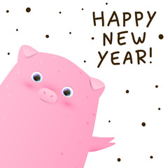 Greeting card with cute little pig - a symbol of the New Year 2019