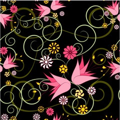 floral abstract ornament on a black background