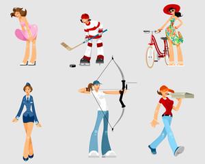 Set of different women