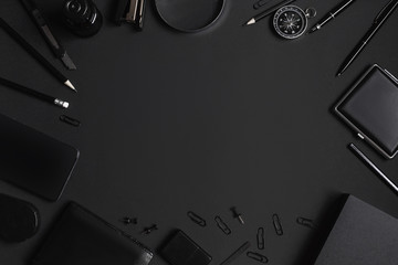 Set of black identity elements on black paper background. Black branding mockup Wall mural