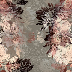 imprints sakura blossom mix repeat seamless pattern. digital hand drawn picture with watercolour texture. mixed media