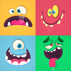 Cartoon monster faces set. Vector set of four Halloween monster faces. One eyed alien, smiling devil, scared troll, tired monster