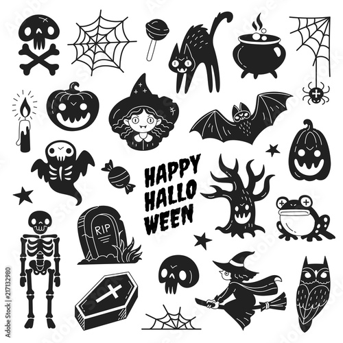 Happy Halloween Icons Collection Vector Illustration Of Funny Black