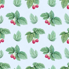 Watercolor illustration of raspberries. Seamless pattern