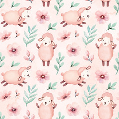 Watercolor illustration of cute sheep. Seamless pattern