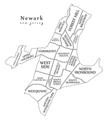 Modern City Map - Newark New Jersey city of the USA with neighborhoods and titles outline map