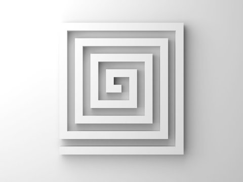 Abstract white 3d square spiral maze object