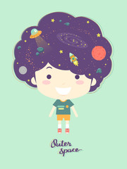 Kid Boy Outer Space Hair Illustration
